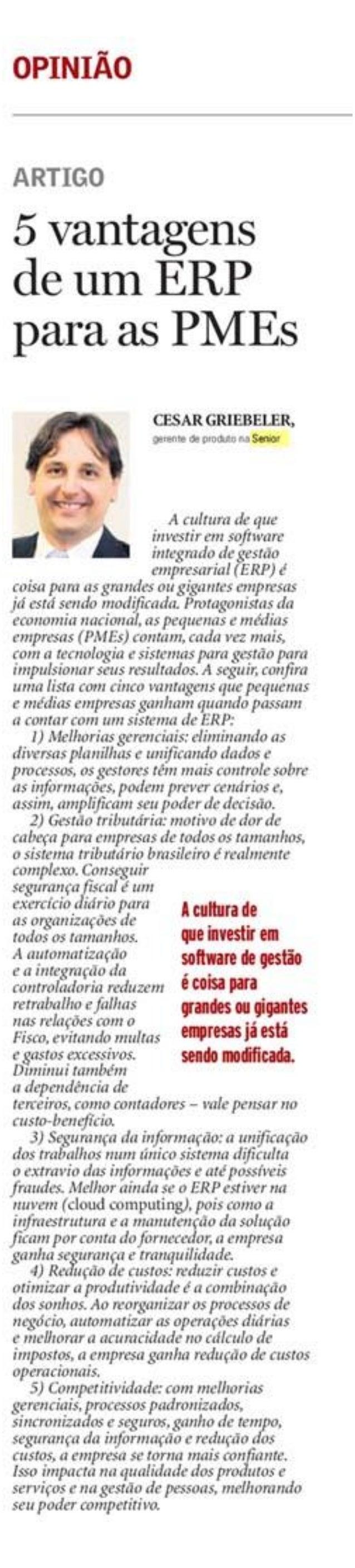 Jornal A Notícia 03/07/2015   5 vantagens de um ERP para as PMEs