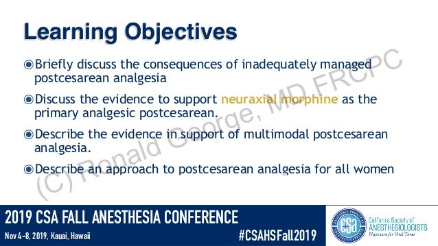 Enhanced Cesarean Analgesia Slide 2