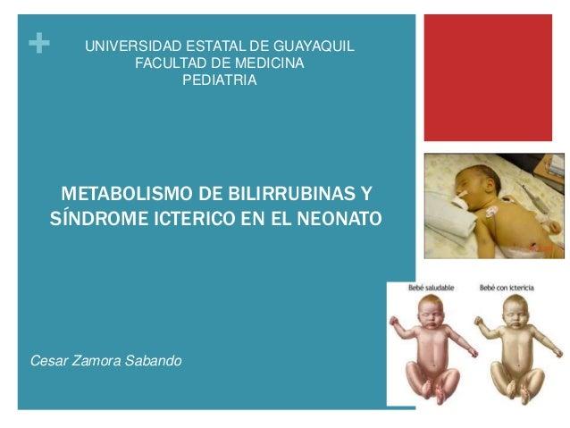 + METABOLISMO DE BILIRRUBINAS Y SÍNDROME ICTERICO EN EL NEONATO Cesar Zamora Sabando UNIVERSIDAD ESTATAL DE GUAYAQUIL FACU...