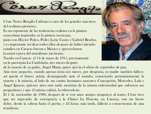 César Nereo Rengifo Cadenas es uno de los grandes maestros del realismo pictórico. Es un exponente de las tendencias reali...