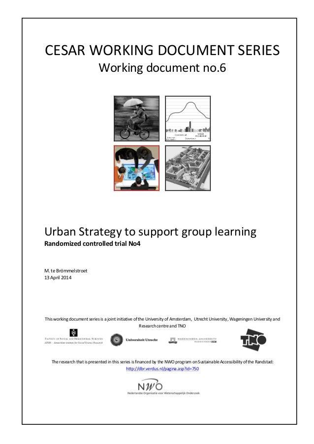 CESAR  WORKING  DOCUMENT  SERIES   Working  document  no.6                       Urban...