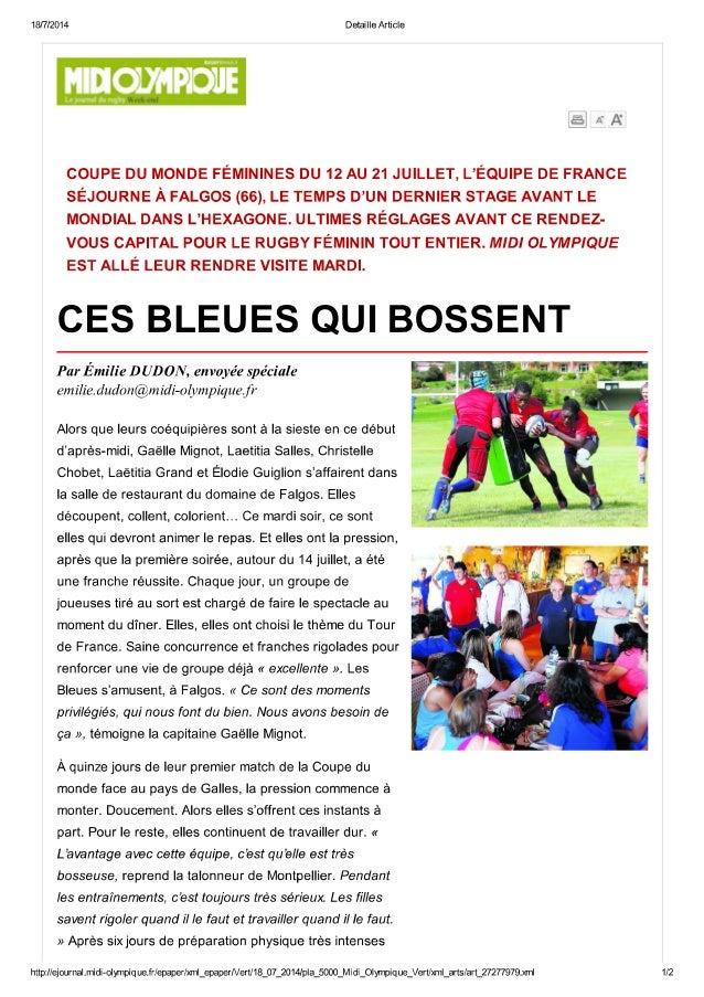 Ces bleues qui bossent-France fémminines en stage à Falgos dans Midi Olympique