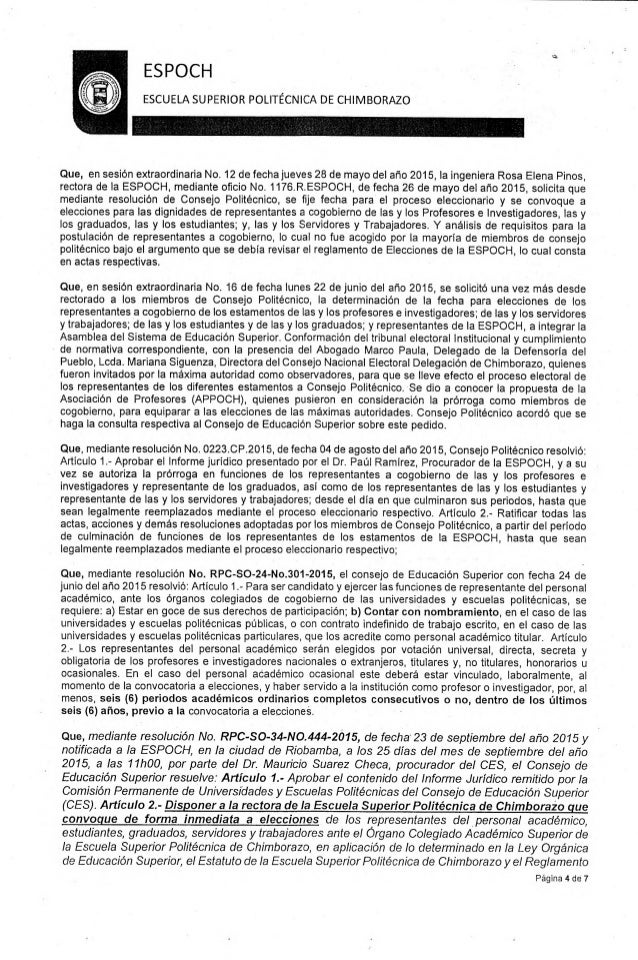 LA VERDAD SOBRE EL PADRON ELECTORAL ESPOCH