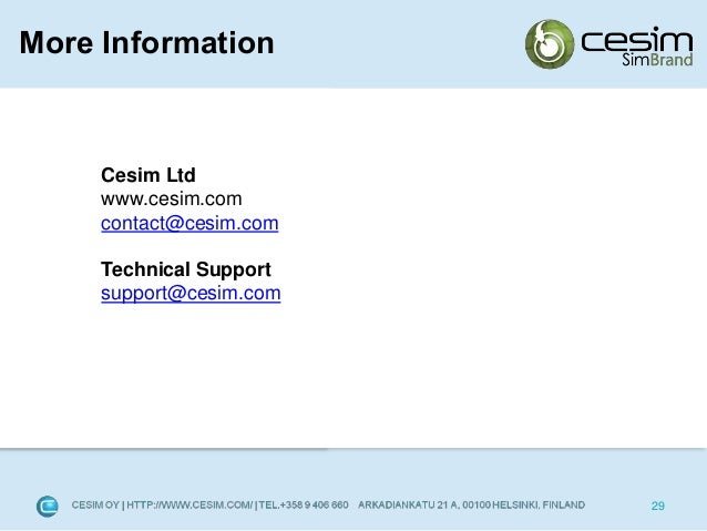 simbrand report Cesim simbrand is a marketing management simulation game used in higher education and corporate training summary report with key financial ratios and.