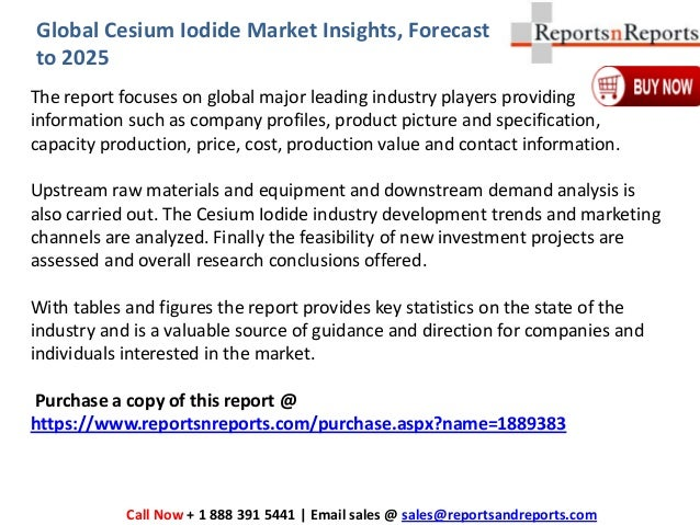 Market Insights Report on Global Cesium Iodide Market Industry 2019-2…