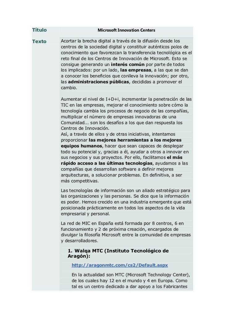 Título                    Microsoft Innovation CentersTexto    Acortar la brecha digital a través de la difusión desde los...