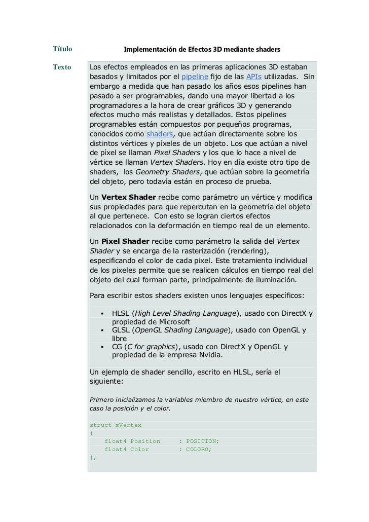Título              Implementación de Efectos 3D mediante shadersTexto    Los efectos empleados en las primeras aplicacion...