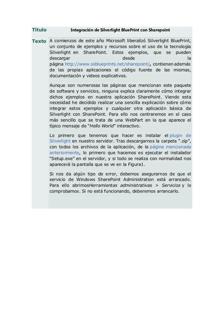 Título             Integración de Silverlight BluePrint con SharepointTexto A comienzos de este año Microsoft liberalizó S...