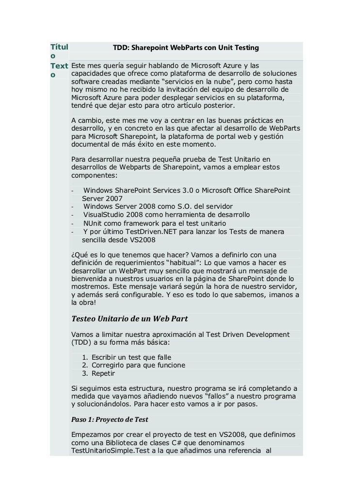 Títul             TDD: Sharepoint WebParts con Unit TestingoText Este mes quería seguir hablando de Microsoft Azure y laso...
