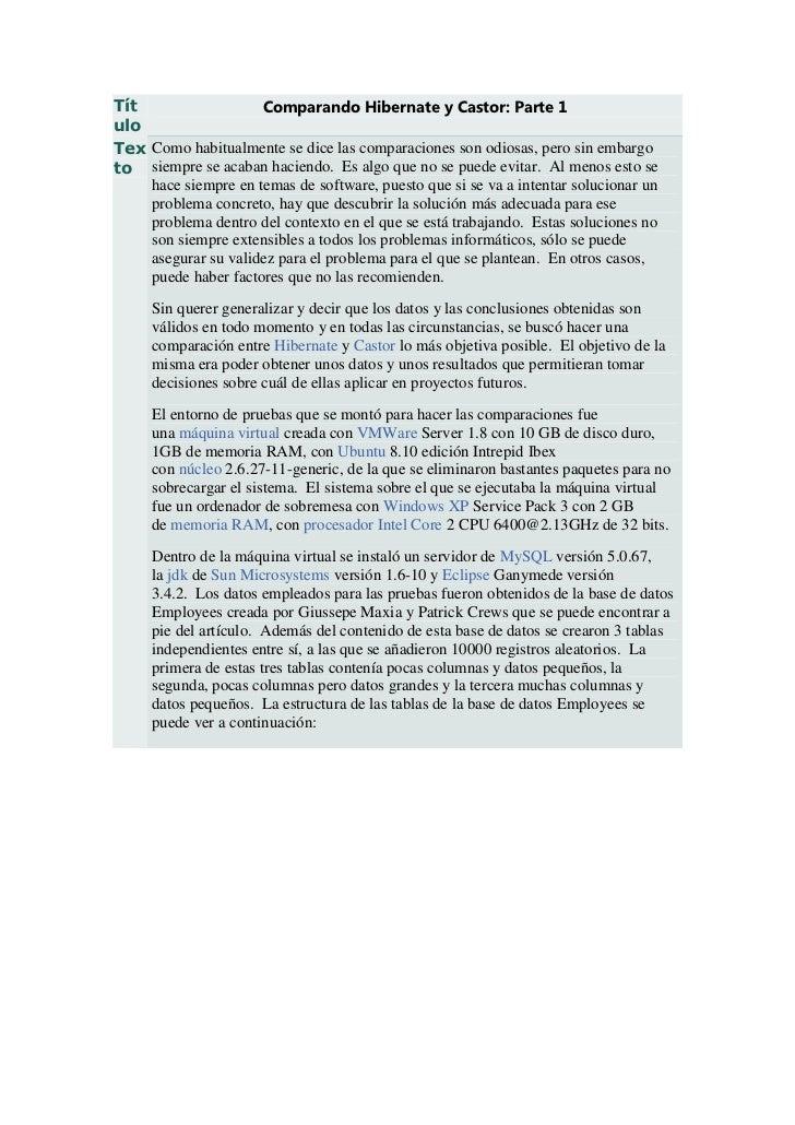Tít                  Comparando Hibernate y Castor: Parte 1uloTex Como habitualmente se dice las comparaciones son odiosas...