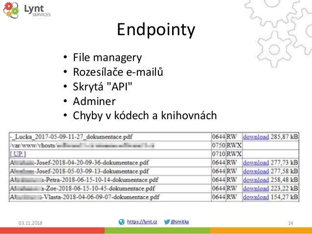 """https://lynt.cz @smitka Endpointy 03.11.2018 14 • File managery • Rozesílače e-mailů • Skrytá """"API"""" • Adminer • Chyby v kó..."""