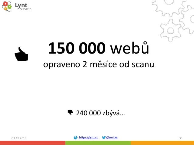 https://lynt.cz @smitka 150 000 webů opraveno 2 měsíce od scanu 03.11.2018 36 👍 👎 240 000 zbývá…