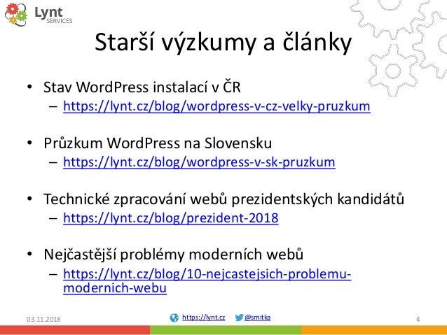 https://lynt.cz @smitka Starší výzkumy a články • Stav WordPress instalací v ČR – https://lynt.cz/blog/wordpress-v-cz-velk...