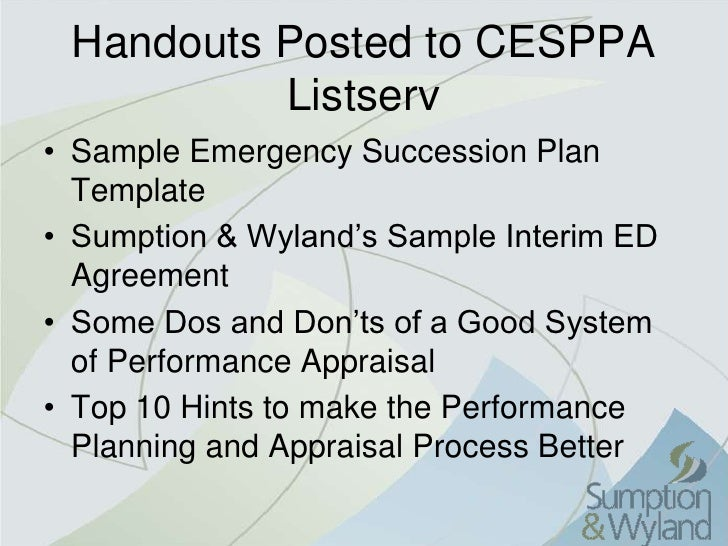 Cesppa 2010 reviews and succession for Emergency succession plan template