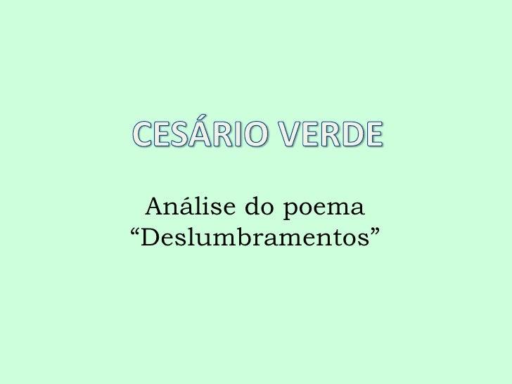 "Análise do poema""Deslumbramentos"""