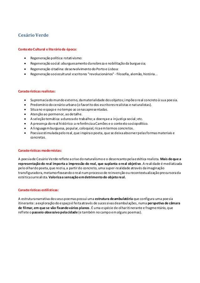 Cesário Verde ContextoCultural e literárioda época:  Regeneraçãopolítica:rotativismo:  Regeneraçãosocial:aburguesamentod...