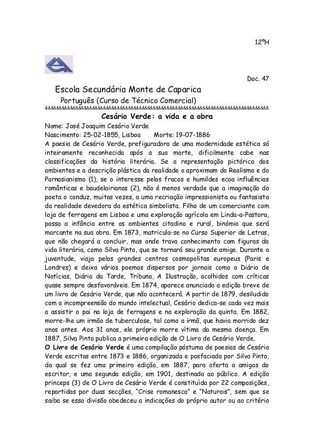 12ºH Doc. 47 Escola Secundária Monte de Caparica Português (Curso de Técnico Comercial) &&&&&&&&&&&&&&&&&&&&&&&&&&&&&&&&&&...