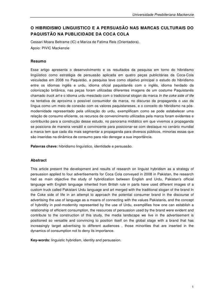 Universidade Presbiteriana MackenzieO HIBRIDISMO LINGUISTICO E A PERSUASÃO NAS MARCAS CULTURAIS DOPAQUISTÃO NA PUBLICIDADE...