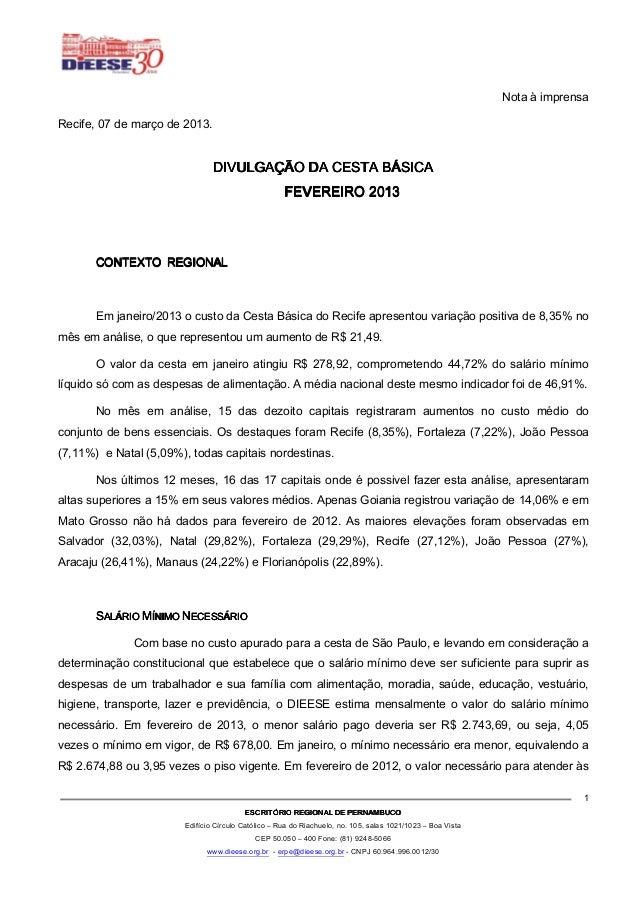 Nota à imprensaRecife, 07 de março de 2013.                                DIVULGAÇÃO DA CESTA BÁSICA                     ...