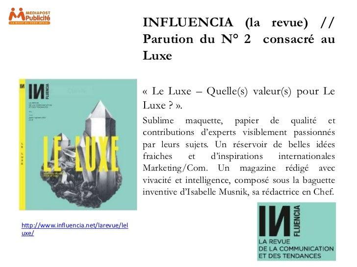 INFLUENCIA (la revue) //                                        Parution du N° 2 consacré au                              ...