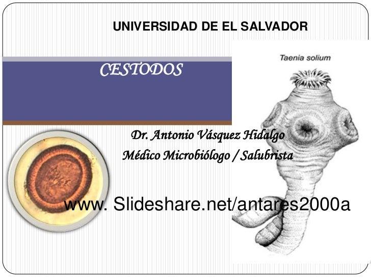 UNIVERSIDAD DE EL SALVADOR   CESTODOS       Dr. Antonio Vásquez Hidalgo      Médico Microbiólogo / Salubristawww. Slidesha...