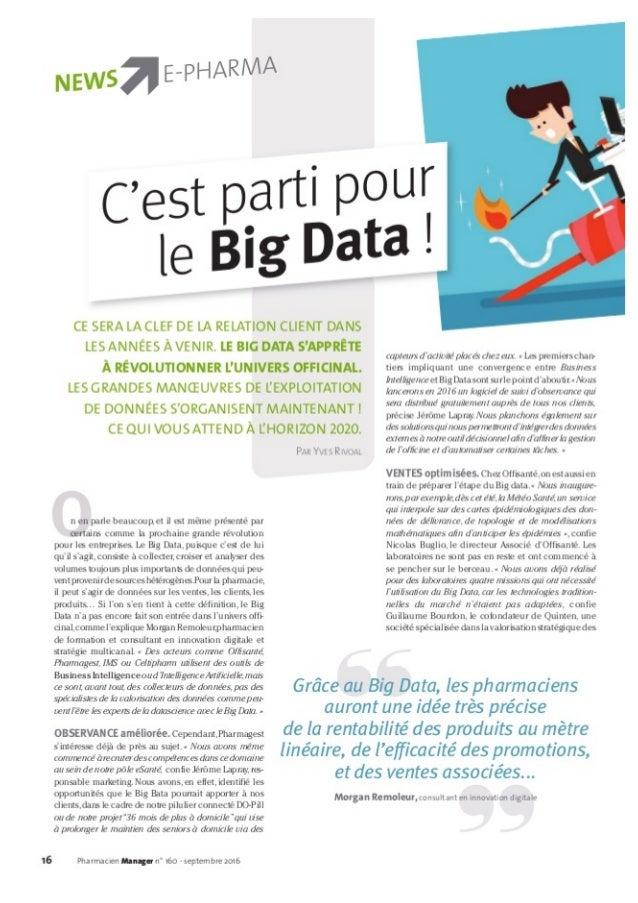 PHARMACIE D'OFFICINE : C'est parti pour le big data !