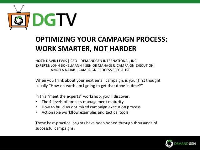 OPTIMIZING YOUR CAMPAIGN PROCESS: WORK SMARTER, NOT HARDER HOST: DAVID LEWIS | CEO | DEMANDGEN INTERNATIONAL, INC. EXPERTS...