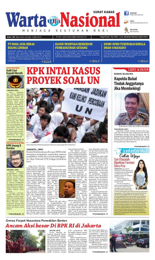 E-mail: wartanasional@rocketmail.comEdisi 190/ Tahun XIII / 22 April - 6 Mei 2013 Harga Eceran : Rp 5.000,- ( Luar Jabotab...