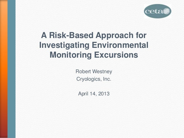 A Risk-Based Approach forInvestigating EnvironmentalMonitoring ExcursionsRobert WestneyCryologics, Inc.April 14, 2013
