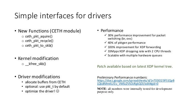 Simple interfaces for drivers • New Functions (CETH module) o ceth_pkt_aquire() o ceth_pkt_recycle() o ceth_pkt_to_skb() •...