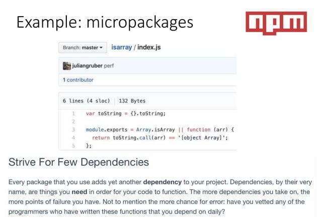 Example: transitive dependencies https://npm.anvaka.com/