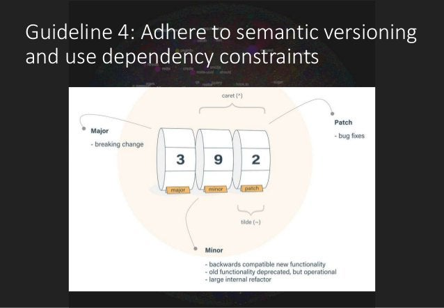 Guideline 4: Adhere to semantic versioning and use dependency constraints • From provider side: Informs your dependents ab...
