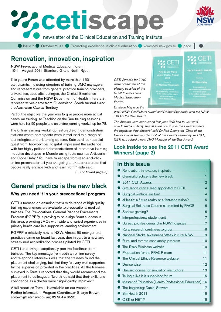 cetiscape                     newsletter of the Clinical Education and Training Institute     Issue 7  October 2011  Pr...