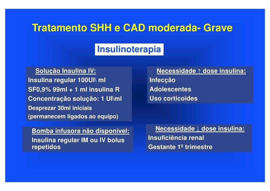 Tratamento SHH e CAD moderada- Grave                         Insulinoterapia    Solução Insulina IV:                Necess...
