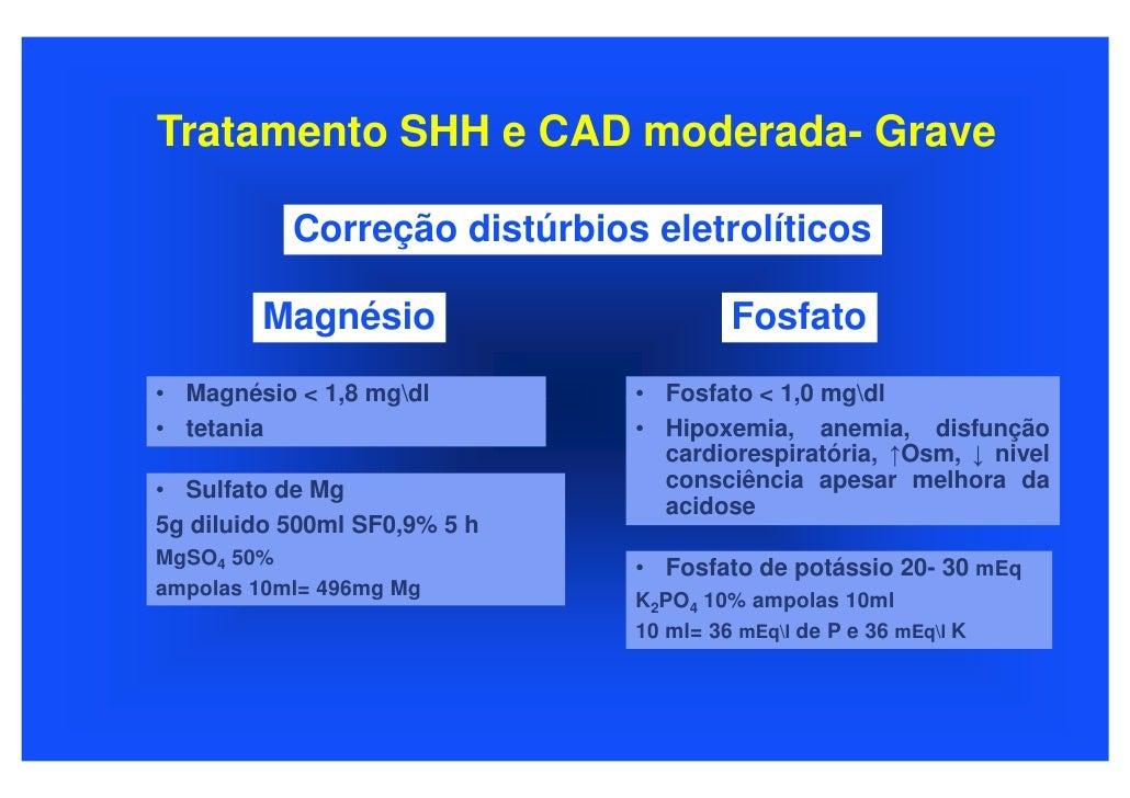 Tratamento SHH e CAD moderada- Grave             Correção distúrbios eletrolíticos          Magnésio                      ...