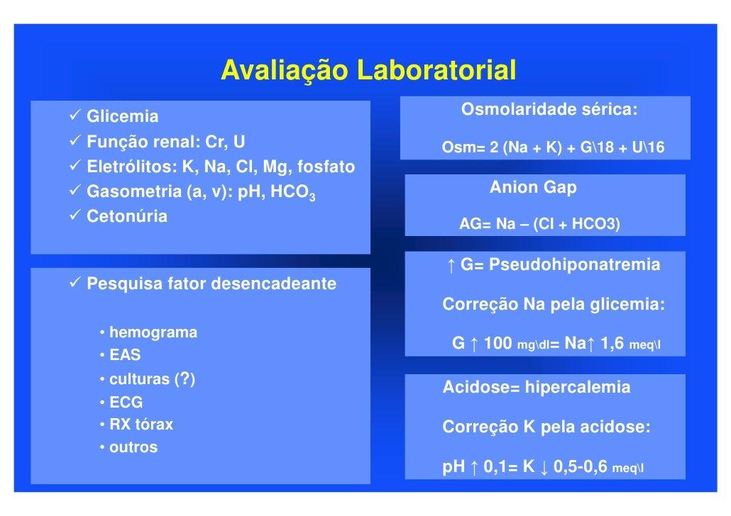 Avaliação Laboratorial Glicemia                                Osmolaridade sérica: Função renal: Cr, U                   ...