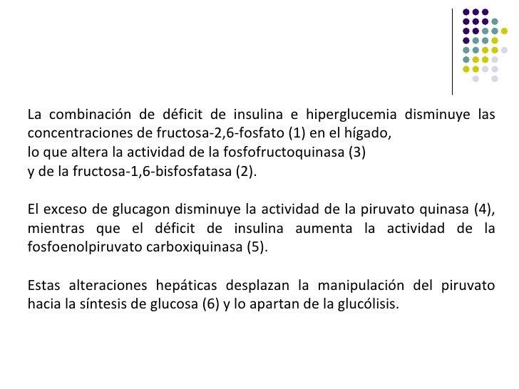 La combinación de déficit de insulina e hiperglucemia disminuye lasconcentraciones de fructosa-2,6-fosfato (1) en el hígad...