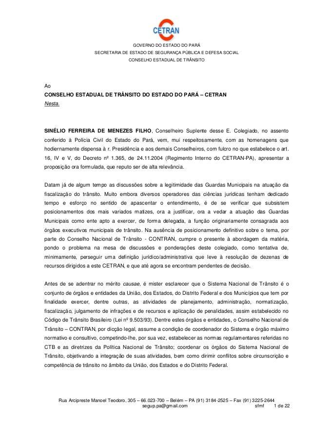GOVERNO DO ESTADO DO PARÁ SECRETARIA DE ESTADO DE SEGURANÇA PÚBLICA E DEFESA SOCIAL CONSELHO ESTADUAL DE TRÂNSITO Rua Arci...