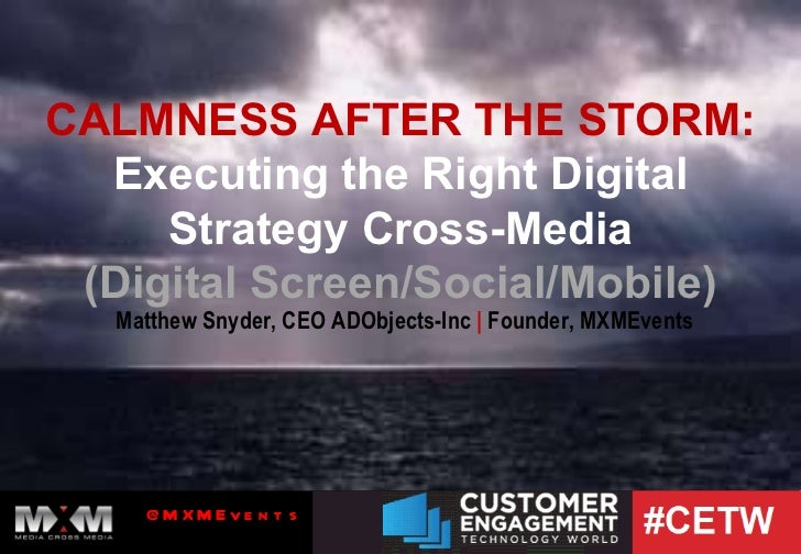 CALMNESS AFTER THE STORM: Executing the Right Digital Strategy Cross-Media (Digital Screen/Social/Mobile) Matthew Snyder, ...
