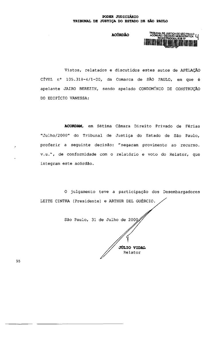 PODER JUDICIÁRIO              TRIBUNAL DE JUSTIÇA DO ESTADO DE SÃO PAULO                                   ariSunio       ...