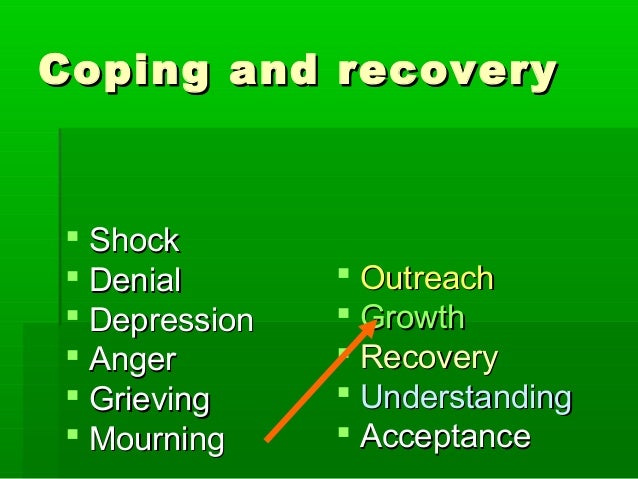 Coping and recoveryCoping and recovery  ShockShock  DenialDenial  DepressionDepression  AngerAnger  GrievingGrieving ...