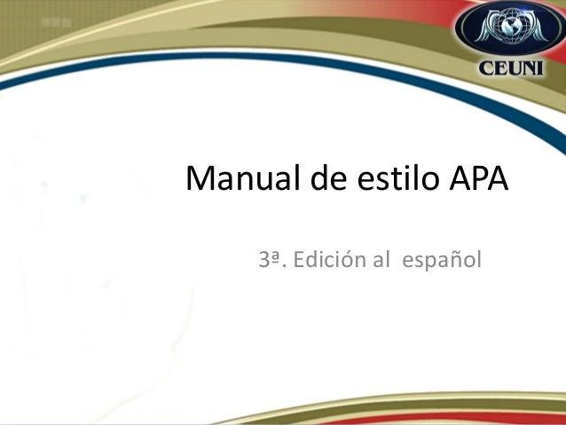 Manual de estilo APA  3ª. Edición al español