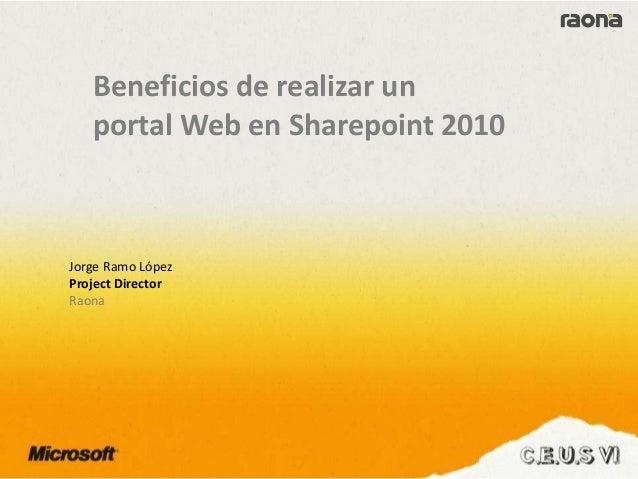 Raona - Web pública con SharePoint 2010 Slide 2