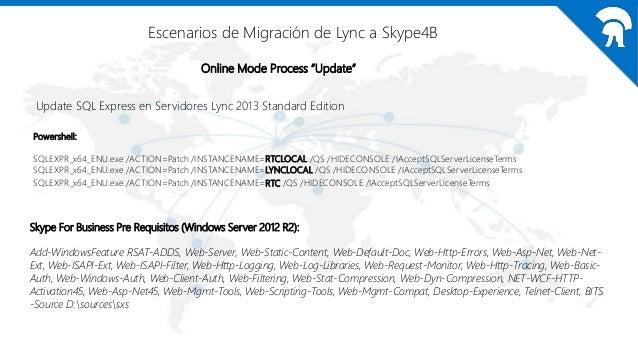 "Escenarios de Migración de Lync a Skype4B Online Mode Process ""Update"" Para realizar el upgrade de Lync 2013 a Skype4B 1.R..."