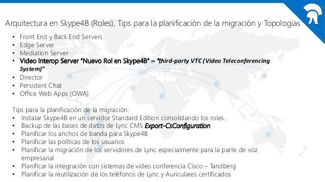 Arquitectura en Skype4B (Roles), Tips para la planificación de la migración y Topologías Small Organization