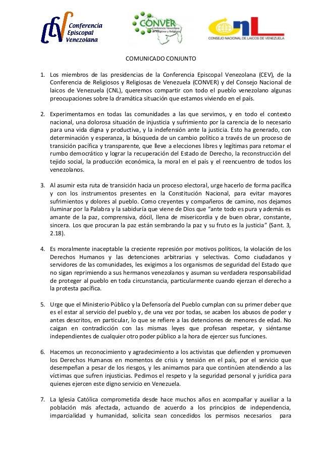 COMUNICADO CONJUNTO 1. Los miembros de las presidencias de la Conferencia Episcopal Venezolana (CEV), de la Conferencia de...