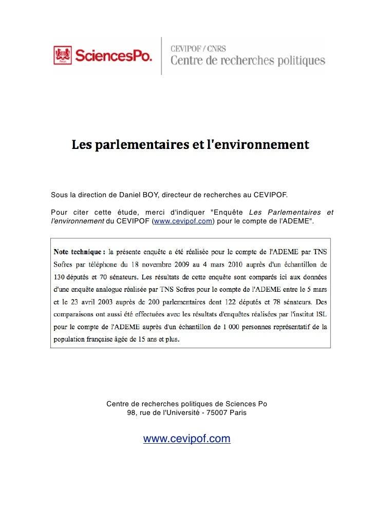 Cevipof Les parlementaires et l'environnement