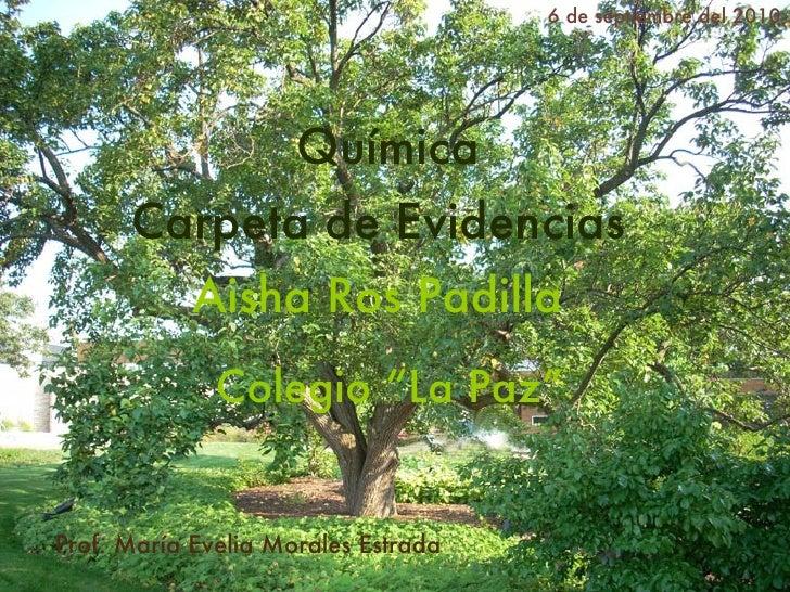 Carpeta de Evidencias Prof. Mar ía Evelia Morales Estrada   Aisha Ros Padilla   6 de septiembre del 2010 Qu ímica   Colegi...
