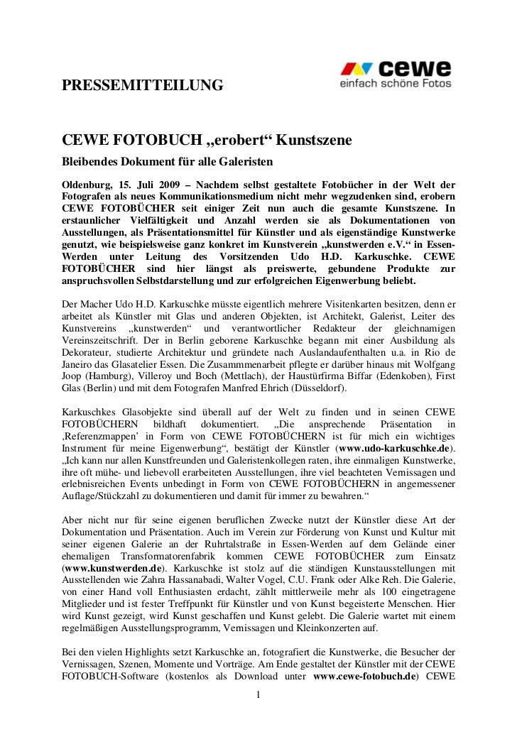 """PRESSEMITTEILUNGCEWE FOTOBUCH """"erobert"""" KunstszeneBleibendes Dokument für alle GaleristenOldenburg, 15. Juli 2009 – Nachde..."""