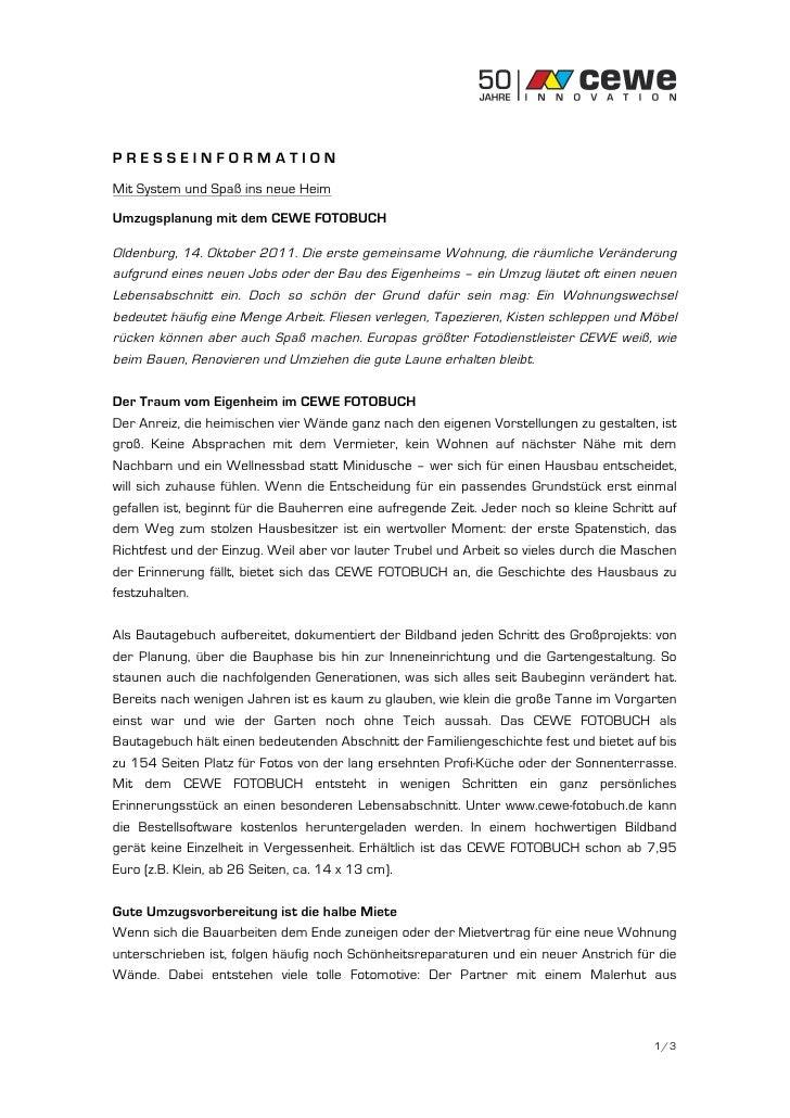 PRESSEINFORMATIONMit System und Spaß ins neue HeimUmzugsplanung mit dem CEWE FOTOBUCHOldenburg, 14. Oktober 2011. Die erst...